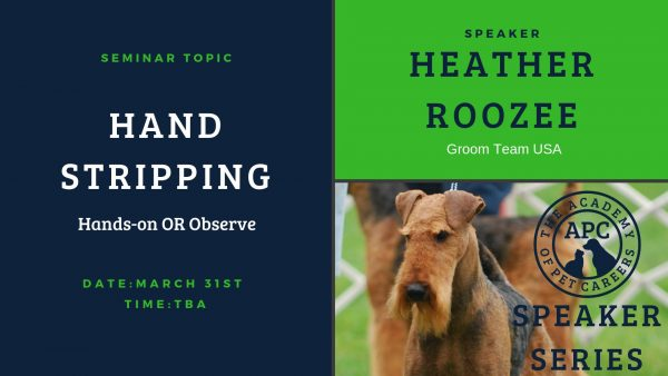 Heather Roozee, Hand Stripping, The Academy of Pet Careers